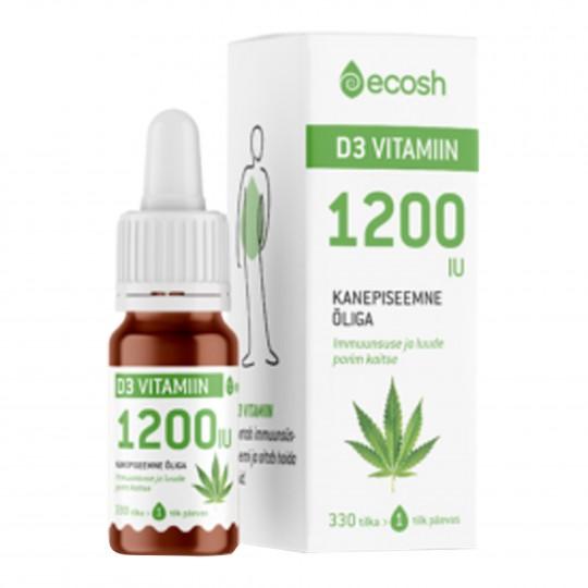 D3-vitamiin mahe kanepiõli 5120 (10 ml=330 tilka) 1 tilk 1200 IU 10ml
