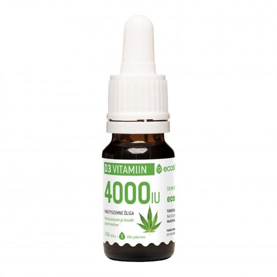 D3-vitamiin, mahe kanepiõli 4000 IU (10 ml=330 tilka) 1 tilk 4000 IU 10ml