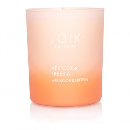 Rapsivahast lõhnaküünal Aprikoos & Freesia värvilises klaasis 150g