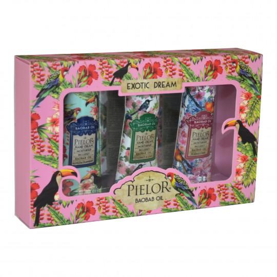 Kinkekomplekt Exotic Dream Kätekreemid 3tk Pink Box
