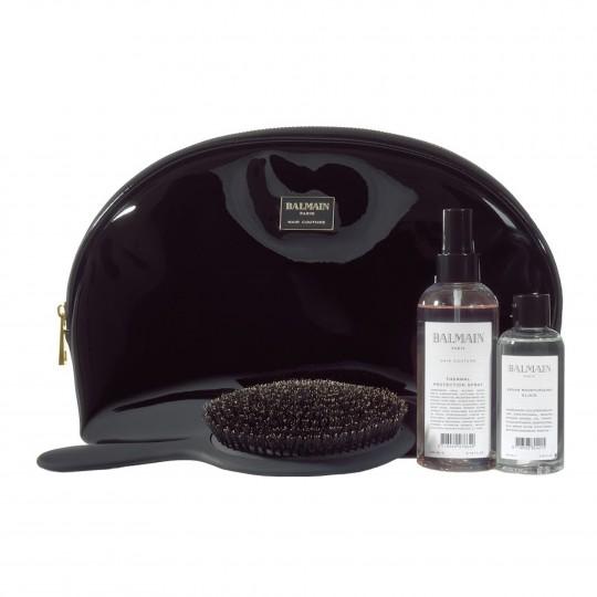 Balmain Black Patent Leather Pouch suur kosmeetikakott must lakk