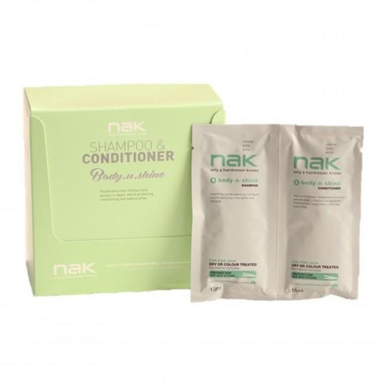 Body.N.Shine DUO Kohevust andev šampooni ja palsami reisikomplekt 10x30ml